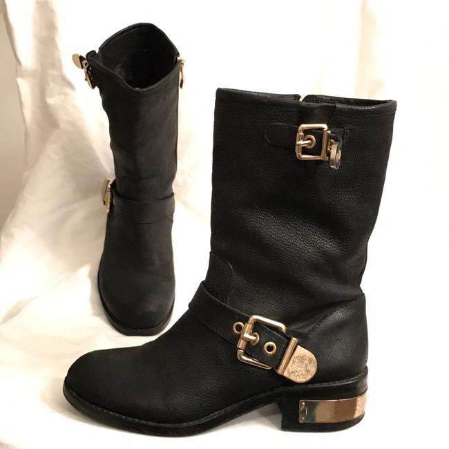 Item - Black Gold Winchell Distressed Leather Motorcycle/Biker Boots/Booties Size US 6 Regular (M, B)