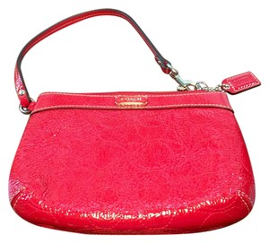 Coach Signature Patent Leather Wristlet in Red