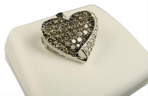 Other Brown 10K Ladies White Gold Brown Diamond Heart Love Pendant 1.0 Ct