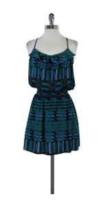 Parker short dress Teal & Black Geo Print Silk Spaghetti Strap on Tradesy