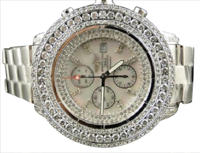 Breitling Stainless Steel XL Custom Mens Super Avenger 3 Row Diamond 23 Ct Watch Breitling Stainless Steel XL Custom Mens Super Avenger 3 Row Diamond 23 Ct Watch Image 1