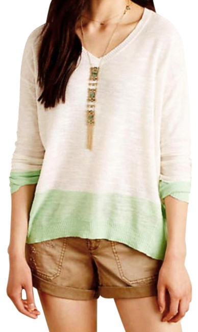 Preload https://img-static.tradesy.com/item/20935153/anthropologie-ivory-green-sand-sea-foam-sweaterpullover-size-10-m-0-9-650-650.jpg