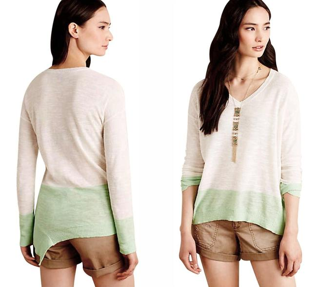 Anthropologie Semi Sheer Ribbed Trim Cotton Linen Blend High Low Hem Ombre Pattern Sweater Image 1