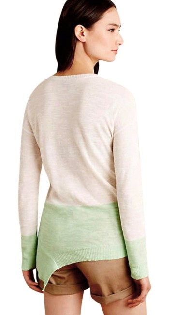 Anthropologie Semi Sheer Ribbed Trim Cotton Linen Blend High Low Hem Ombre Pattern Sweater Image 4