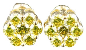 Other 10K Yellow Gold 10 Mm Canary Diamond Cluster Stud Earrings 2.5 Ct