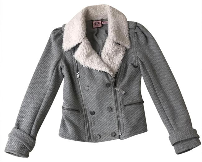 Juicy Couture Grey and White Faux Fur Great Jacket Size 4 (S) Juicy Couture Grey and White Faux Fur Great Jacket Size 4 (S) Image 1