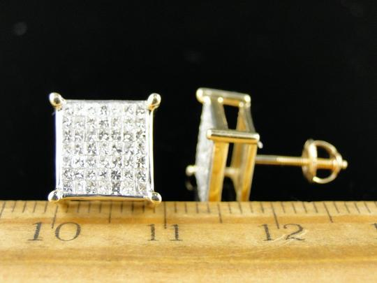 Other 14K Yellow Gold 4 Prong Invisible Set Diamond Stud Earrings 1.0 Ct