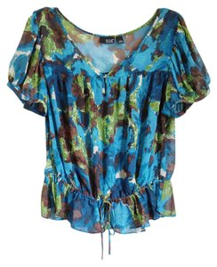 A.N.A. a new approach Nwot Keyhole Abstract Pattern Baby Doll Gathered Top blue, green, brown, white