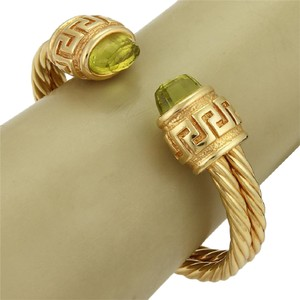 Modern Vintage Estate Peridot 14k Yellow Gold Double Cable Cuff Band Bracelet