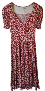 Anthropologie short dress Red Floral V-neck Empire Waist Ric Rac on Tradesy