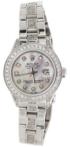 Rolex Ladies Rolex DateJust Steel Diamond Watch Oyster Band White MOP Dial