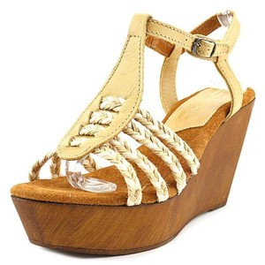 Sbicca Raite Platform Sandals Raffia Tan Wedges