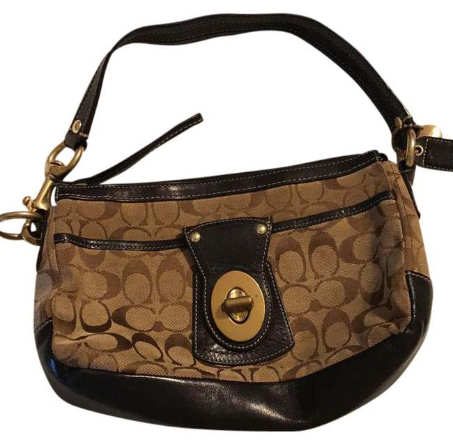 Coach F06j-10337 Black Leather with Brown Straps Hobo Bag Coach F06j-10337 Black Leather with Brown Straps Hobo Bag Image 1