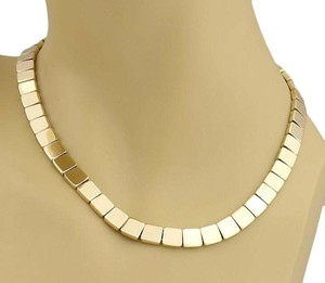 Tiffany & Co. #20240 Tiffany & Co. 18k Gold Square Link 8mm Wide Collar Necklace