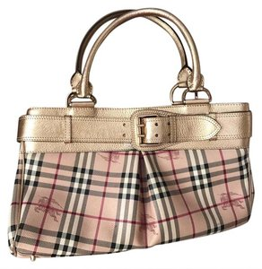 Burberry Satchel in gold, beige, brown