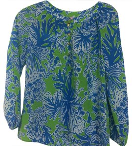 Lilly Pulitzer Top blue and green pattern