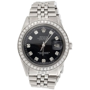 Rolex Mens 36 MM Datejust Jubilee Stainless Steel Black Diamond Watch 2.2Ct