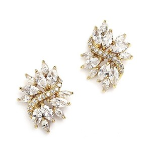 Mariell Gold Cubic Zirconia Cluster Bridal Earrings 4014e-g