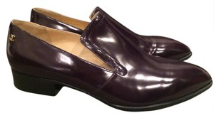 Chanel Cc Loafer Glazed Moccasin Dark Plum Purple Flats