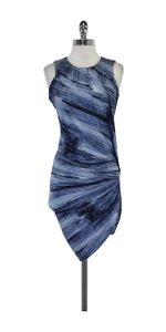 Torn by Ronny Kobo Blue Marbled Draped Dress