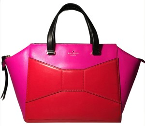 Kate Spade Handbag Color Block Bow Purse Rare Spring Tote in pink and red