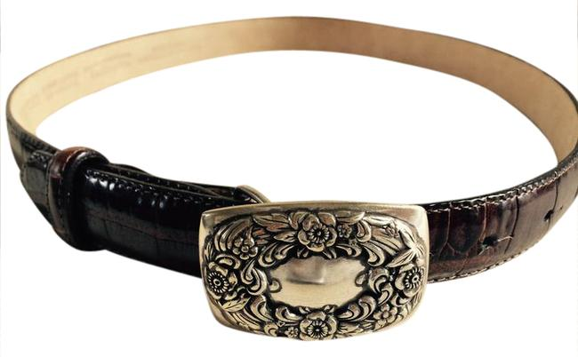 Talbots Brown and Silver Leather with Embellished Closure Buckle Belt Talbots Brown and Silver Leather with Embellished Closure Buckle Belt Image 1