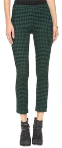 Free People Gingham Plaid High Rise Capri/Cropped Pants Green