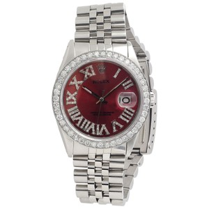Rolex Mens Rolex 36mm Datejust Jubilee Red Roman Steel Diamond Watch 3 Ct.