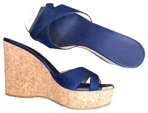 Jimmy Choo blue and cork with gold toe Wedges