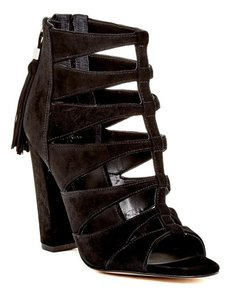 Marc Fisher Suede Leather Open Toe Gladiator Tassels Black Suede Sandals
