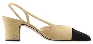Chanel Loafer High Heel Two Tone Beige/Black Sandals