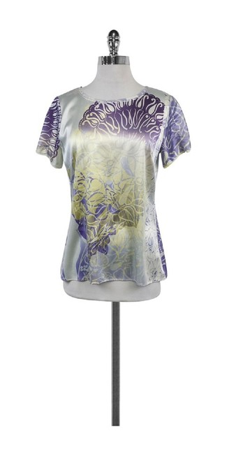 Elie Tahari Print Silk Top Purple & Yellow
