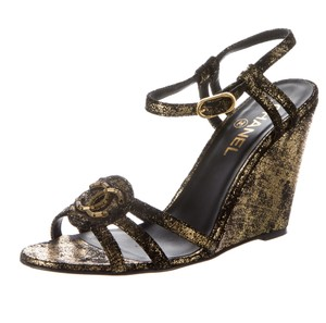 Chanel Interlocking Cc Logo Gold Hardware Ankle Strap Beaded Black, Gold Sandals