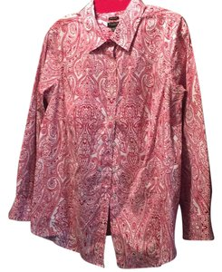 Talbots Button Down Shirt red paisley