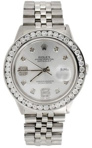 Rolex Mens16014 DateJust 36mm ChannelSet Diamond Watch Shiny Silver Dial 4Ct