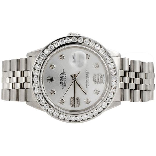 Rolex Mens16014 DateJust 36mm ChannelSet Diamond Watch Shiny Silver Dial 4Ct Image 1