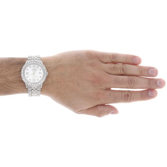 Rolex Mens16014 DateJust 36mm ChannelSet Diamond Watch Shiny Silver Dial 4Ct Image 5