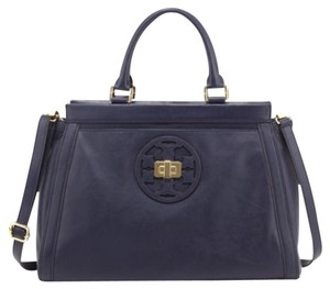 Tory Burch Structured Logo Great For Work Top Handled Satchel in Cape Blue