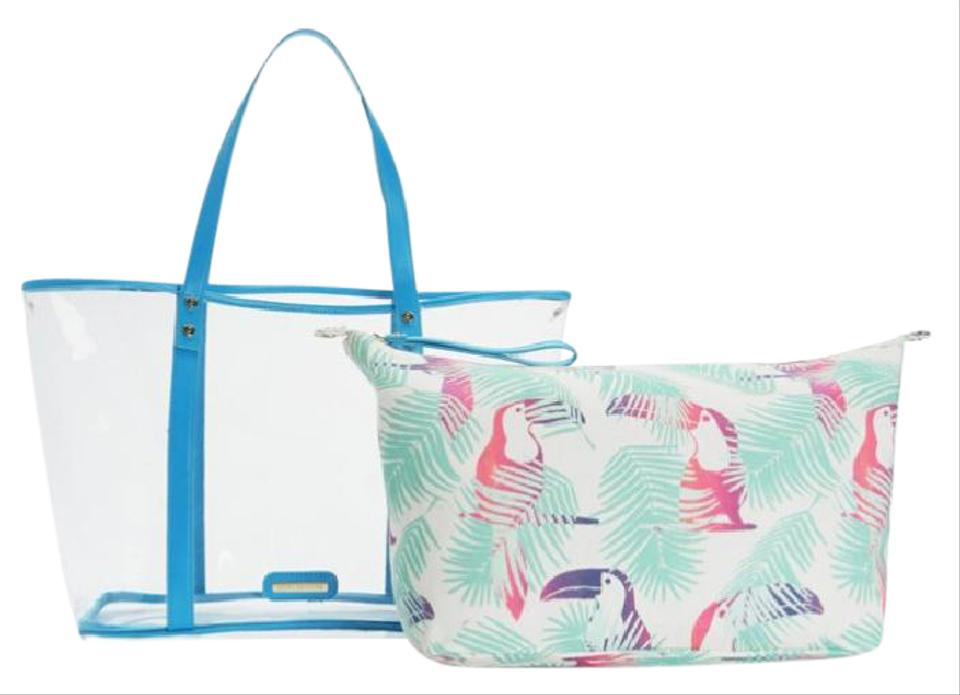 Juicy Couture Love Beach Tote 2 Piece Blue White Pvc Cotton Canvas Weekend Travel Bag 46 Off Retail