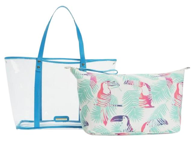 Item - New Love Beach Tote 2 Piece Blue & White Pvc Cotton Canvas Weekend/Travel Bag