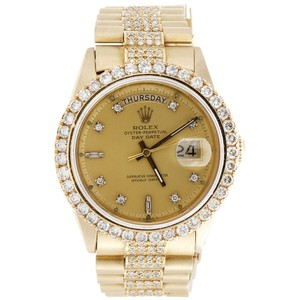 Rolex 18K Yellow Gold Mens Presidential Prong Diamond Day-Date 36mm 8 Ct.