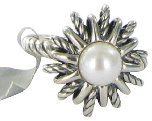 David Yurman Starburst Ring 18mm Pearl Sterling Silver Sz 7