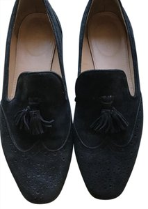 J.Crew Wing Tip Suede Rubber Sole Black Flats