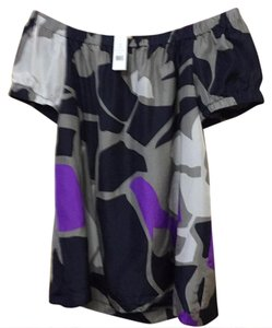 Theory Top silver/ purple/navy