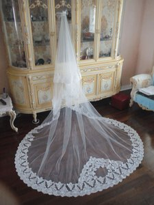 Ivory Long Cathedral Drop - Fully Beaded Mantilla Bridal Veil