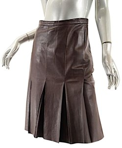 Saint Laurent Yve Softest Leather Pleats Skirt Brown Leather