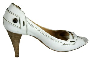 Tod's Leather Peep Toe White Pumps