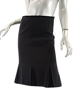 Valentino Sweep Pleats Knee Length Virgin Wool Skirt Black