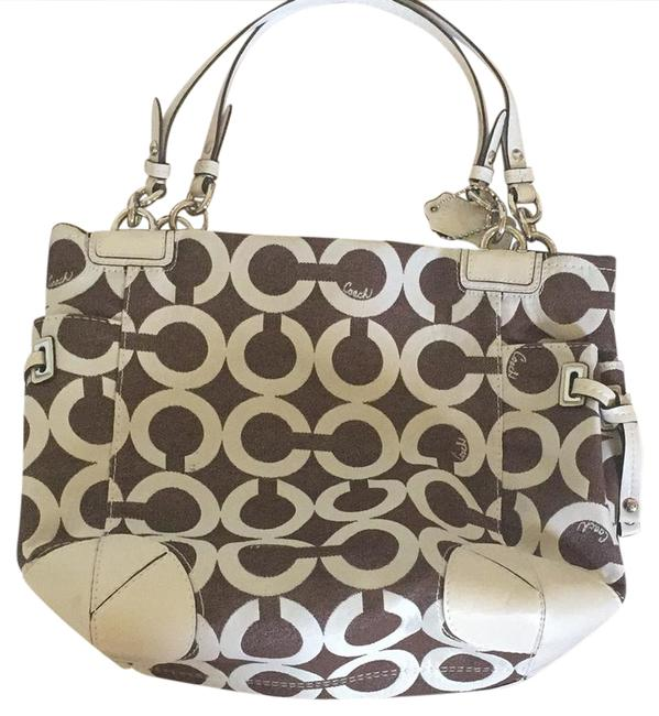 Coach M10-93-14573 Brown/ White Leather/Other Tote Coach M10-93-14573 Brown/ White Leather/Other Tote Image 1