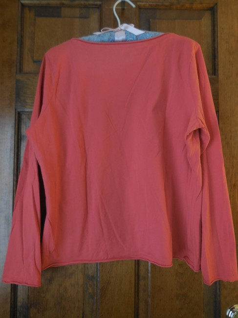 Talbots Petite Cotton Rounded Neckline Rolled Edge Hems Long Sleeves Tunic